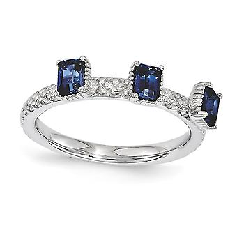 2.5mm 925 Sterling Silver Polished Prong set Rhodium plated Stackable Expressions Created Sapphire Three Stone Ring Jewe