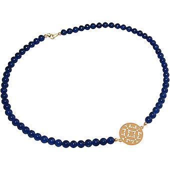 GEMSHINE ketting choker: yoga Mandala blauw Jade. Zilver, verguld, Rose