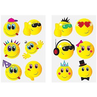Smiley Funny Face Emoticons Tattoos Tattoos 24pcs