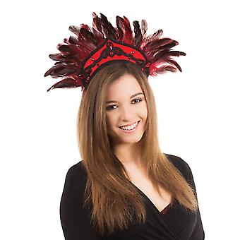 Carnival Headdress. Black/Red Feathers