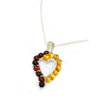 Toc Sterling Silver Heart Shaped Multi Tone Amber Pendant