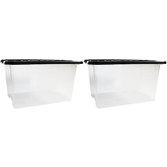 2 x 30 Litre Underbed Under Bed Plastic Clear Storage Box Container Black Lid
