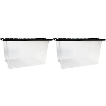 Wysuwane łóżko 2 x 30 litr pod plastikowe w pojemnik na jasne pole łóżko czarna pokrywka