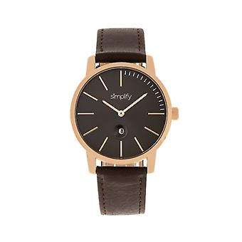Simplify The 4700 Leather-Band Watch w/Date - Rose Gold/Dark Brown