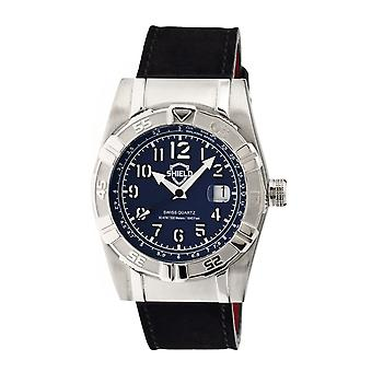 Shield Jarrod Leather-Band Swiss Men's Diver Watch - Silver/Navy