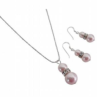 Attraktiv pris tiltrækningen Rose perler vedhæng halskæde øreringe sæt