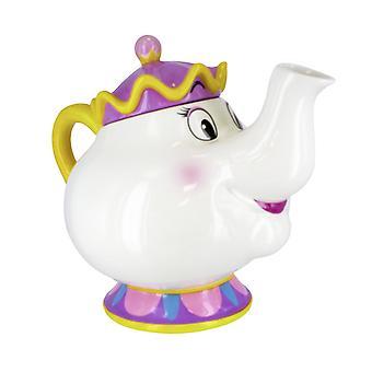 Disney bella e la bestia Madame Pottine teiera bianco, viola e giallo, stampato, 100% in ceramica, in confezione regalo.