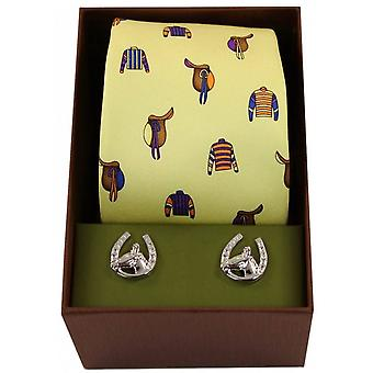 David Van Hagen Jockey Racing and Saddle Tie and Cufflink Set - Yellow