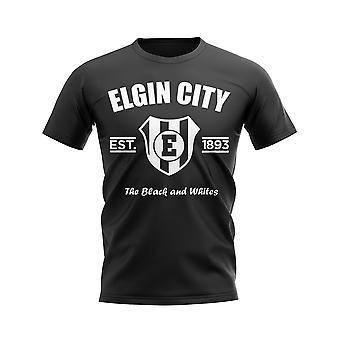 Elgin City perustettiin jalka pallo T-paita (musta)