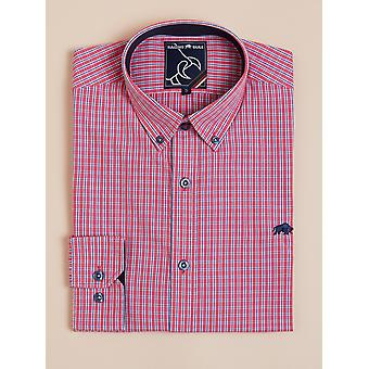 Длинный рукав микро проверить рубашки - яркий розовый