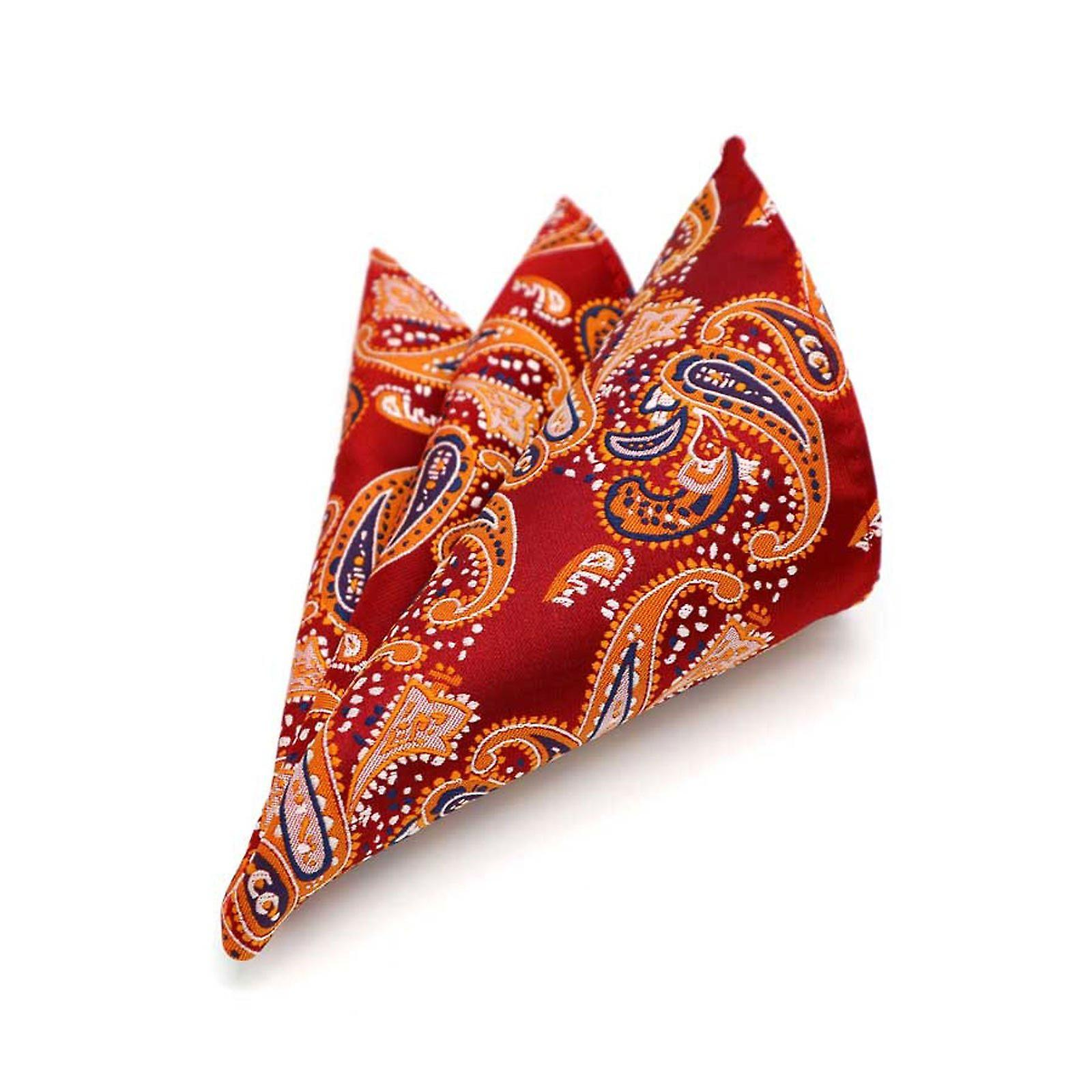 Strawberry red orange & blue paisley pocket square