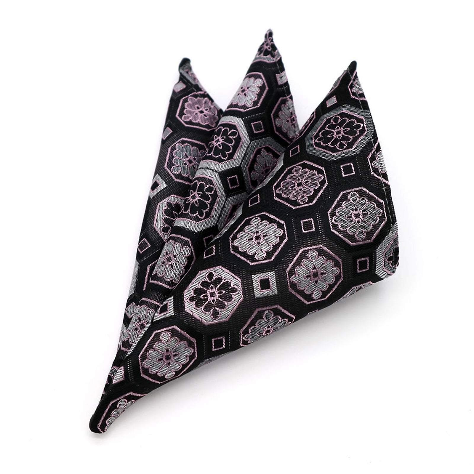 Aubergine & pink pattern men's hanky pocket square