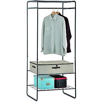 Ouvrir l'armoire / tringle à vêtements métalliques avec 3 étagères - noir