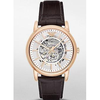 Emporio Armani Automatic Watch Ar1983 Brown Leather Band