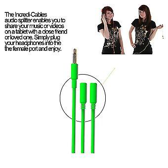 Incredi-Cables 3.5mm Audio Splitter Cord Cable - Green (Model No. INC-235S-P6GN)