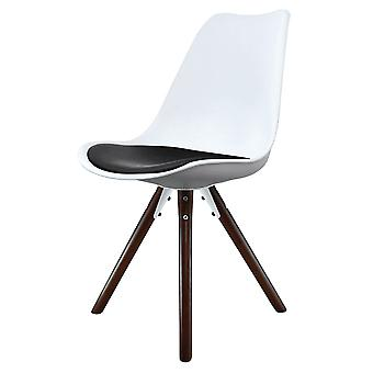 Fusion Living Eiffel Inspired White And Black Dining Chair With Pyramid Dark Wood Legs