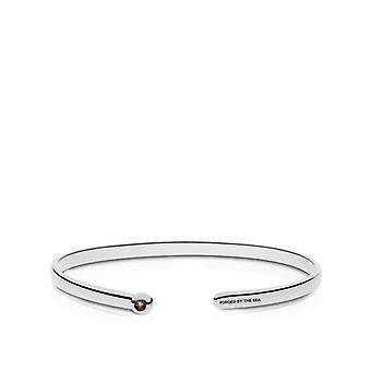 US Navy Engraved Sterling Silver Smokey Quartz Cuff Bracelet
