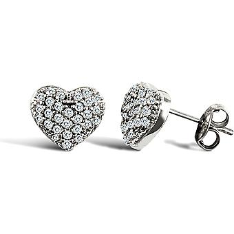Jewelco London Ladies 9ct White Gold White Round Brilliant Cubic Zirconia Domed Pave Love Heart Stud Earrings