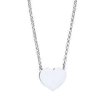 Jewelco Londen dames rhodium plated sterling zilver Love hart disc medaillon ketting 16 + 1 inch