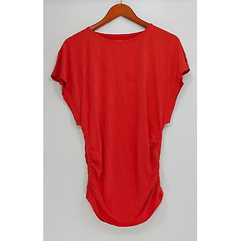 Lisa Rinna collectie vrouwen ' s top korte mouw w/Ruched detail rood A305089