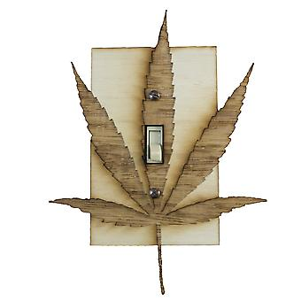Pot leaf switch plate - raw wood - 5.5