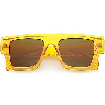Kolorowe przezroczyste przezroczyste okulary przeciwsłoneczne Flat Top Rectangle