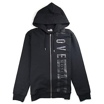 Kjærlighet Moschino side logo zip opp Hoody svart