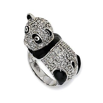 925 Sterling Silver Rhodium plated Enameled CZ Cubic Zirconia Simulated Diamond Panda Ring Size 7 Jewelry Gifts for Wome