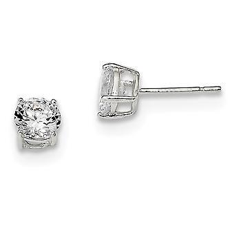 925 Sterling Silver Radiant Cut Post Earrings Basket setting 6mm Cubic Zirconia Stud Earrings