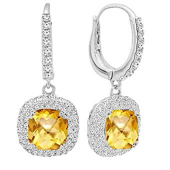 Dazzlingrock Collection 18K 6 MM Each Cushion Citrine & Round Diamond Ladies Halo Dangling Drop Earrings, White Gold