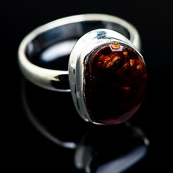 Mexican Fire Agate 925 Sterling Silver Ring Size 7.25  - Handmade Boho Vintage Jewelry RING976324