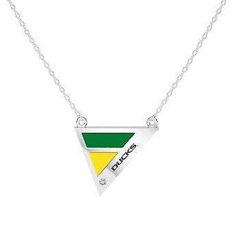 University Of Oregon Engraved Sterling Silver Diamond Geometric In Necklace Green and Yellow