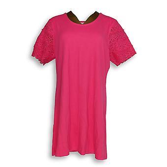 Liz Claiborne New York Women's Petite Top L Lace Sleeve Pink A253413