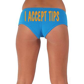 Women's Funny Booty Shorts I Accept Tips Wavy Orange Bold Style Type