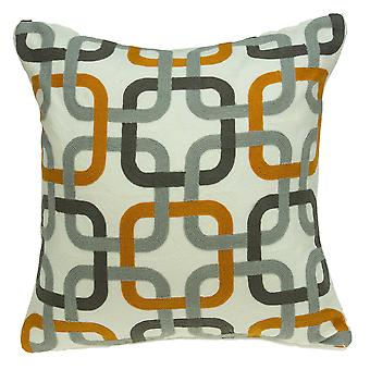 "20"" x 7"" x 20"" Cool Gray and Orange Pillow Cover With Down Insert"