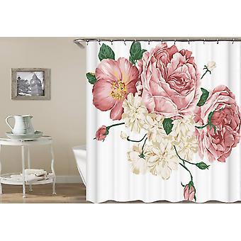 Rosa y blanco flores frescas cortina de ducha