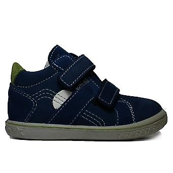 Ricosta Laif 2530100-161 Blue Nubuck Leather Boys Rip Tape Ankle Boots