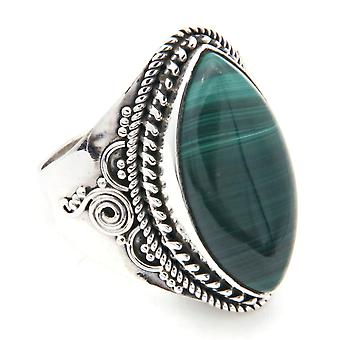 Ring Silver 925 Sterling Silver Malachite Grön sten (Nr: MRI 128)