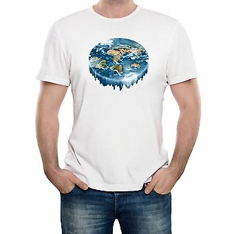Reality glitch flat earth waterfall mens t-shirt