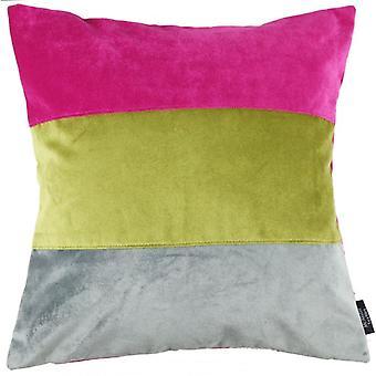 Mcalister Textilien gerade Patchwork samt rosa, grün + grau Kissen