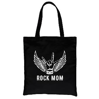 Rock Mom Canvas Tote Bag Mother's Day Theme Best Mom Gift Ideas