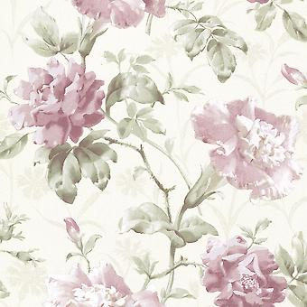 Floral Garden Wallpaper Rose Flower Vintage Retro Watercolour Pink Cream Shimmer