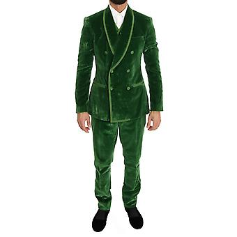 Dolce & Gabbana Green Velvet Slim Fit Double Breasted Suit