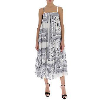 Semi-couture Y0ss01fan19 Women's White/blue Cotton Dress