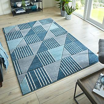Modern Geometric Hand Carved Velocity Rugs In Blue Grey
