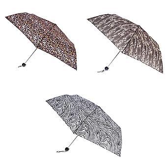 Bruine Womens/dames parapluie Compact impression animale