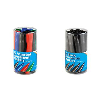 Tiger Large Chisel Tip Permanent Markers (Pack of 12)