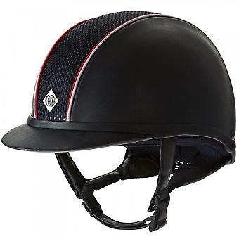 Charles Owen Ayr8 Plus Leather Look Riding Hat - Navy With Red/white Piping