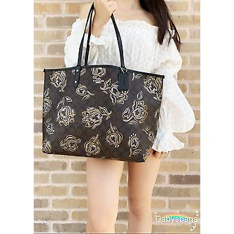 Coach f78282 reversible city tote signature brown floral metallic
