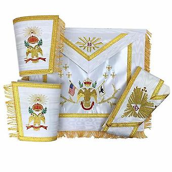 Masonic rose croix 33rd degree silk apron, gauntlets and collar set - all countries flags